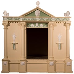 Antique Neoclassical Cream and Green Painted Dog House