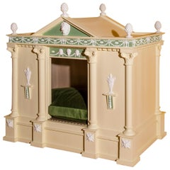 Antique Neoclassical Cream Painted Dog Bed or Dog House