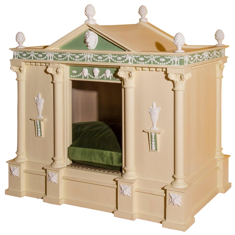 Antique Neoclassical Cream Painted Dog Bed or Dog House For Sale