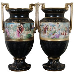 Antique Neoclassical English Black & Gold Grecian Painted Mantel Urn Vase, Pair