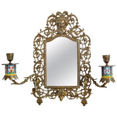 Antique Neoclassical French Brass Enamel Wall Mirror with Candle Sconces, 1890