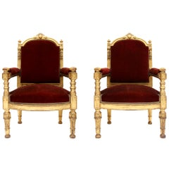 Antique Neoclassical Giltwood and Velvet Armchairs