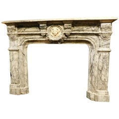 Antique Neoclassical Gray Marble Fireplace with a White Carrara Face, 1800 Italy
