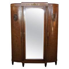 Antique Neoclassical Olive Burl Walnut Knockdown Armoire Wardrobe Mirror MOP