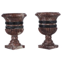Antique Neoclassical Rouge Royale Marble Urns