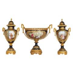 Antique Neoclassical Sèvres Style Porcelain and Gilt Bronze Jardinière and Vases
