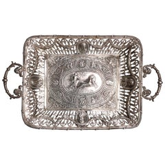 Antique Neoclassical Sterling Silver Tray, Roman Warrior & Chariot, circa 1880