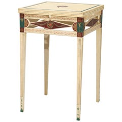 Antique Neoclassical Style Custom Paint Decorated Napkin Fold Side Table