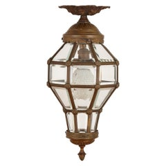 Antique Neoclassical Style Glass and Gilt Bronze Lantern