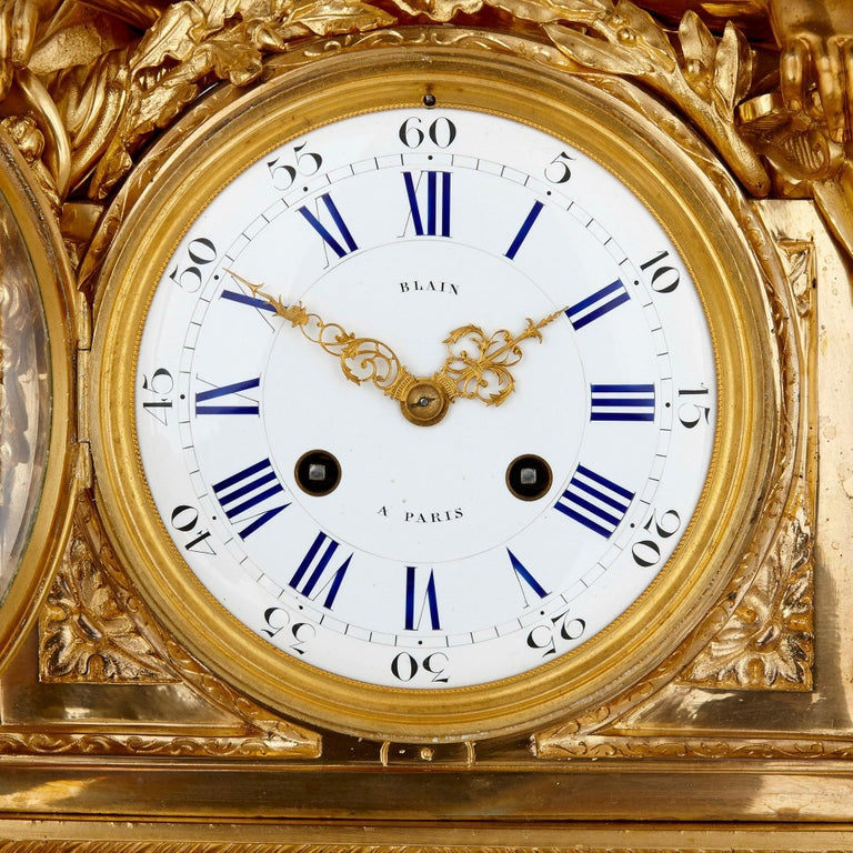 French Antique Neoclassical Style Three-Piece Gilt Bronze Clock Set For Sale
