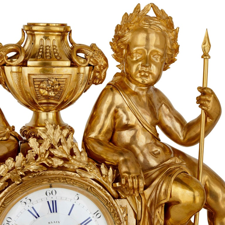 Antique Neoclassical Style Three-Piece Gilt Bronze Clock Set In Good Condition For Sale In London, GB