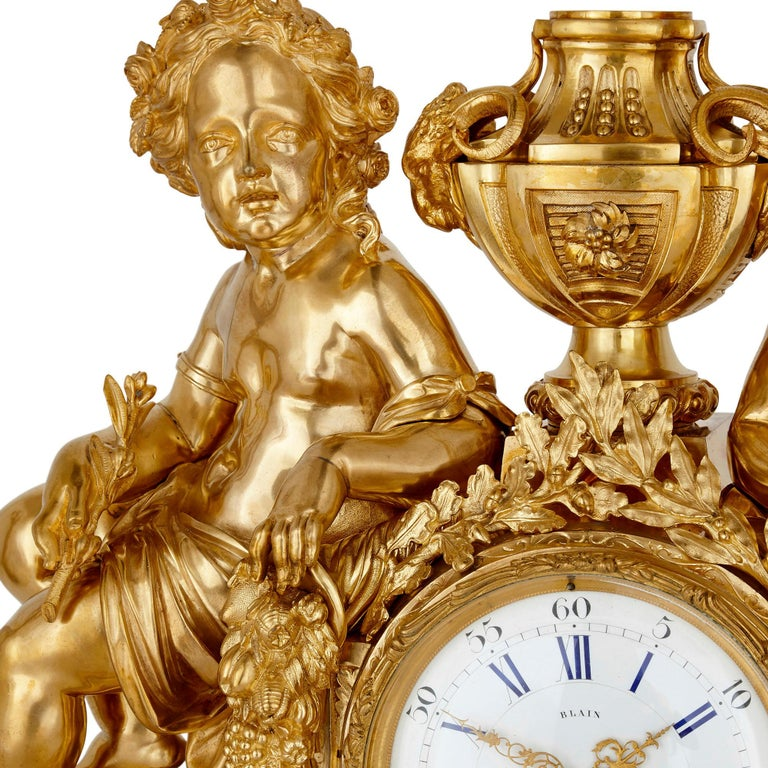 19th Century Antique Neoclassical Style Three-Piece Gilt Bronze Clock Set For Sale