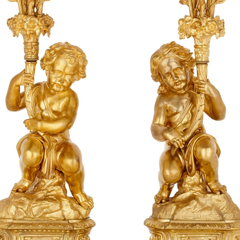 Antique Neoclassical Style Three-Piece Gilt Bronze Clock Set For Sale 1