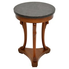 Antique Neoclassical Style Walnut Marble Top Side Table