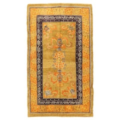 Antique Nepalese Rug with Modern Labyrinth Patterns in Rust and Brown