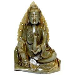 Antique Nephrite Jade Buddha Statue Qing Dynasty