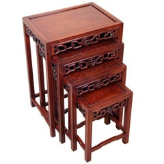 Antique Nest of Four Oriental Hardwood Coffee Tables