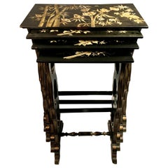 Antique Nest of Lacquered Tables in the Chinoiserie Style, circa 1870-1880