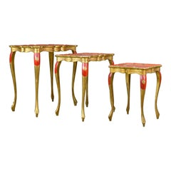Antique Nest of Tables Three French Painted, Gilt, Occasional, circa 1900