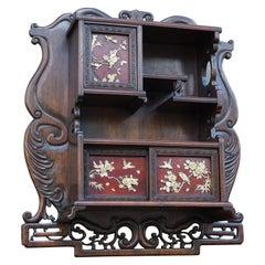 Antique Netsuke Wall Display Cabinet w. Hand Carved Inlaid Bird & Flower Motifs
