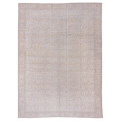 Antique Neutral Turkish Kaisary Carpet, Light Gray and White Palette