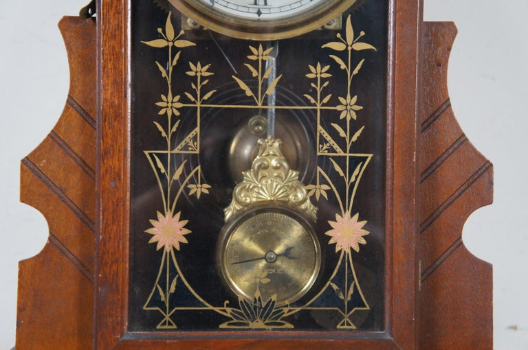 Antique New Haven Clock Co Carved Walnut 8 Day Chiming Mantel Shelf Clock 511 2