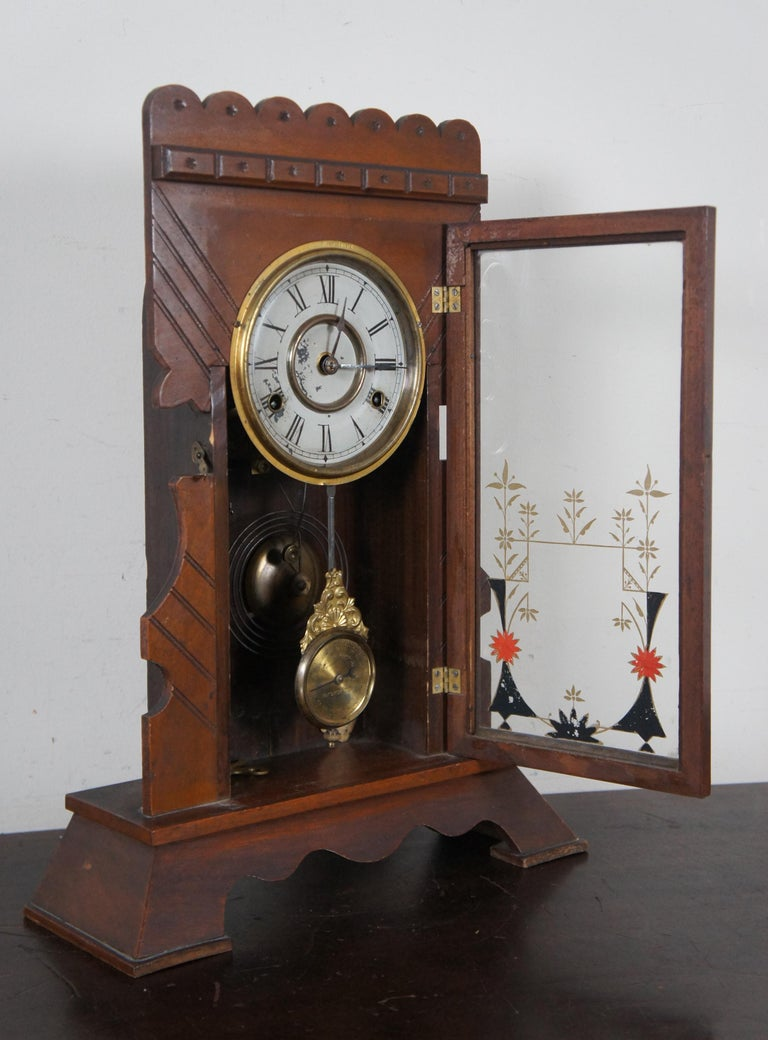 Antique New Haven Clock Co Carved Walnut 8 Day Chiming Mantel Shelf Clock 511 3