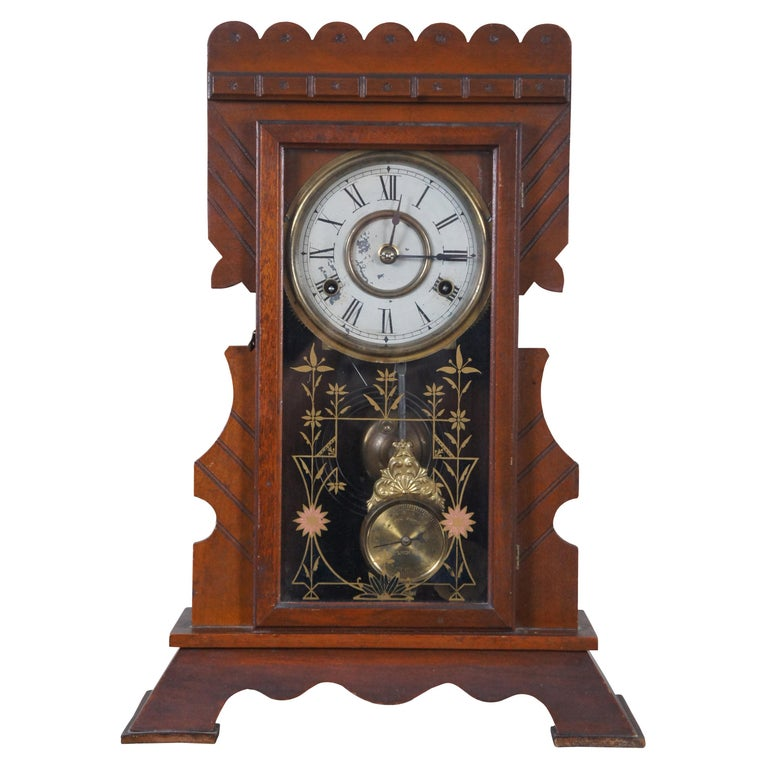 Antique New Haven Clock Co Carved Walnut 8 Day Chiming Mantel Shelf Clock 511