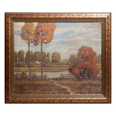 New Hope School Impressionist Oil on Board Landscape by Gabriel, circa 1920