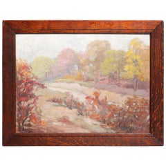 Antique New Hope School Impressionist Oil on Board Landscape, Signed ci9rca 1920
