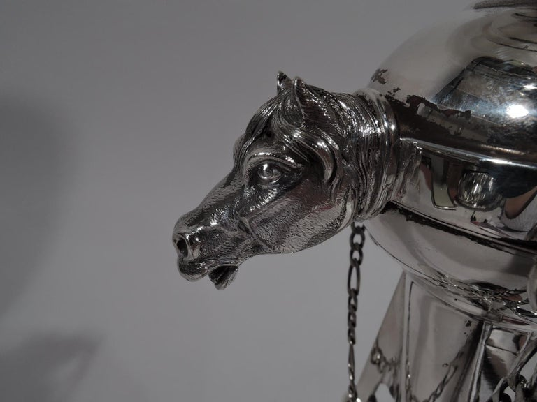 Aesthetic Movement Antique New York Sterling Silver Tall and Stylish Horse Compote For Sale