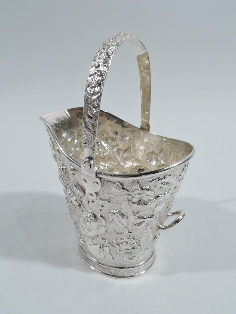 North American Antique New York Victorian Repousse Sterling Silver Cream Pail For Sale