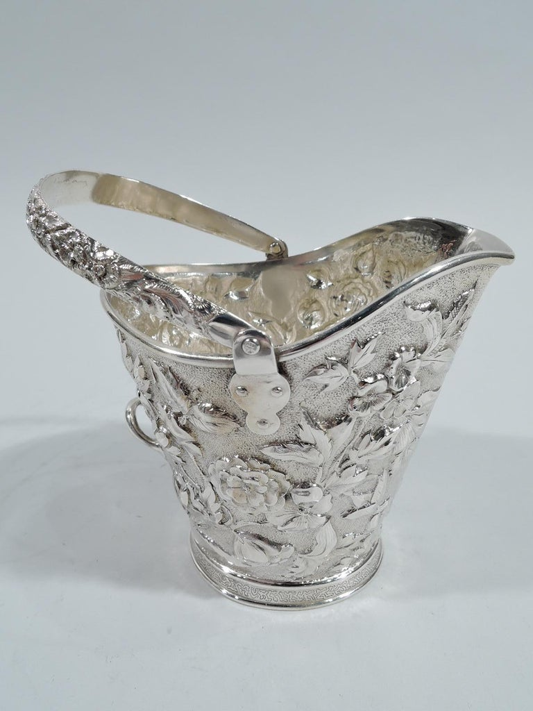 Antique New York Victorian Repousse Sterling Silver Cream Pail In Excellent Condition For Sale In New York, NY