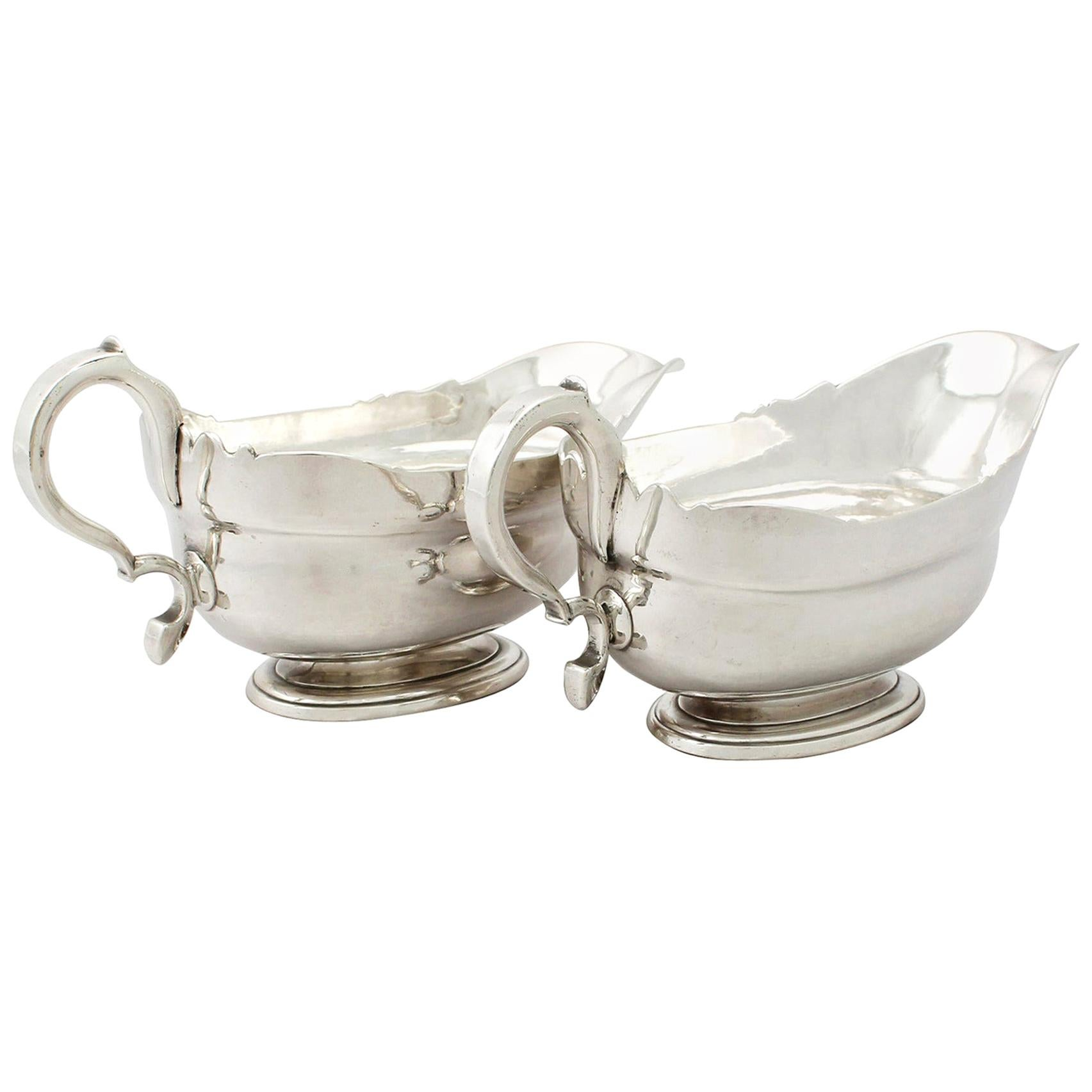 Antique Newcastle Sterling Silver Sauceboats / Gravy Boats