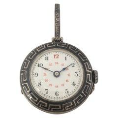 Antique Niello Silver Mechanical Pendant Watch