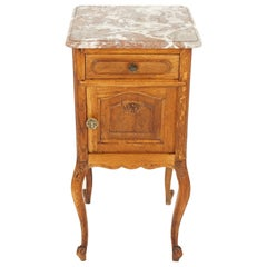 Antique Nightstand, French Marble-Top Oak Lamp Table, France 1900, B2040