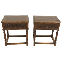Antique Nightstands, Pair of Tudor Style Carved Oak, Scotland, 1930
