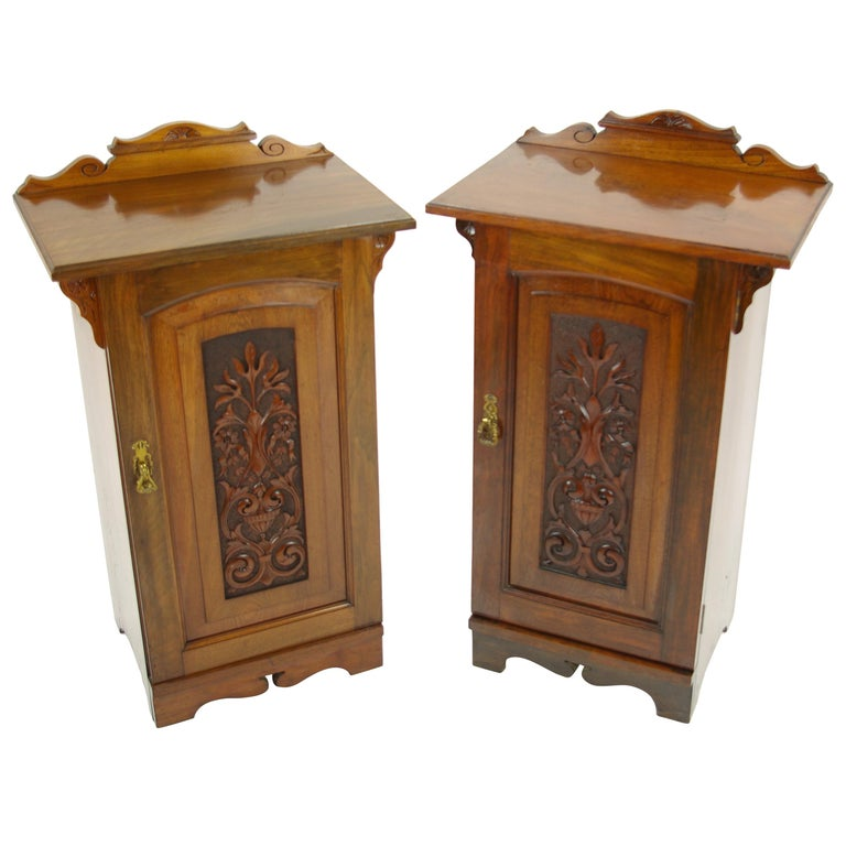Pair Of Simple Church Lights For Sale: Antique Nightstands, Pair Of Nightstands, Bedside Tables