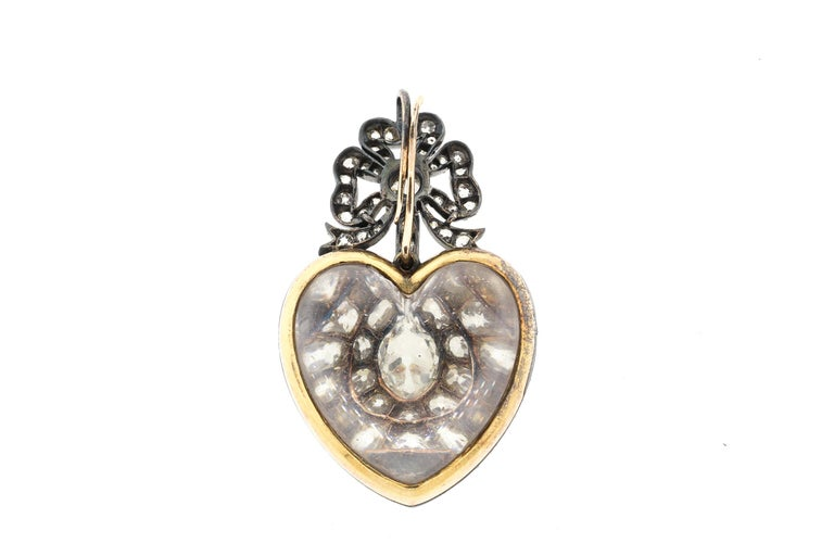Late Victorian Antique 19th Century Silver Topped Gold Old Mine Cut Diamond Heart Pendant