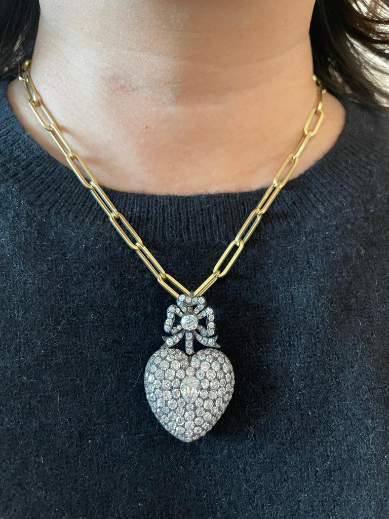 Antique 19th Century Silver Topped Gold Old Mine Cut Diamond Heart Pendant 4