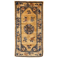 Ningshia Chinese Export Hand-Knotted Wool Antique Rug, circa 1900