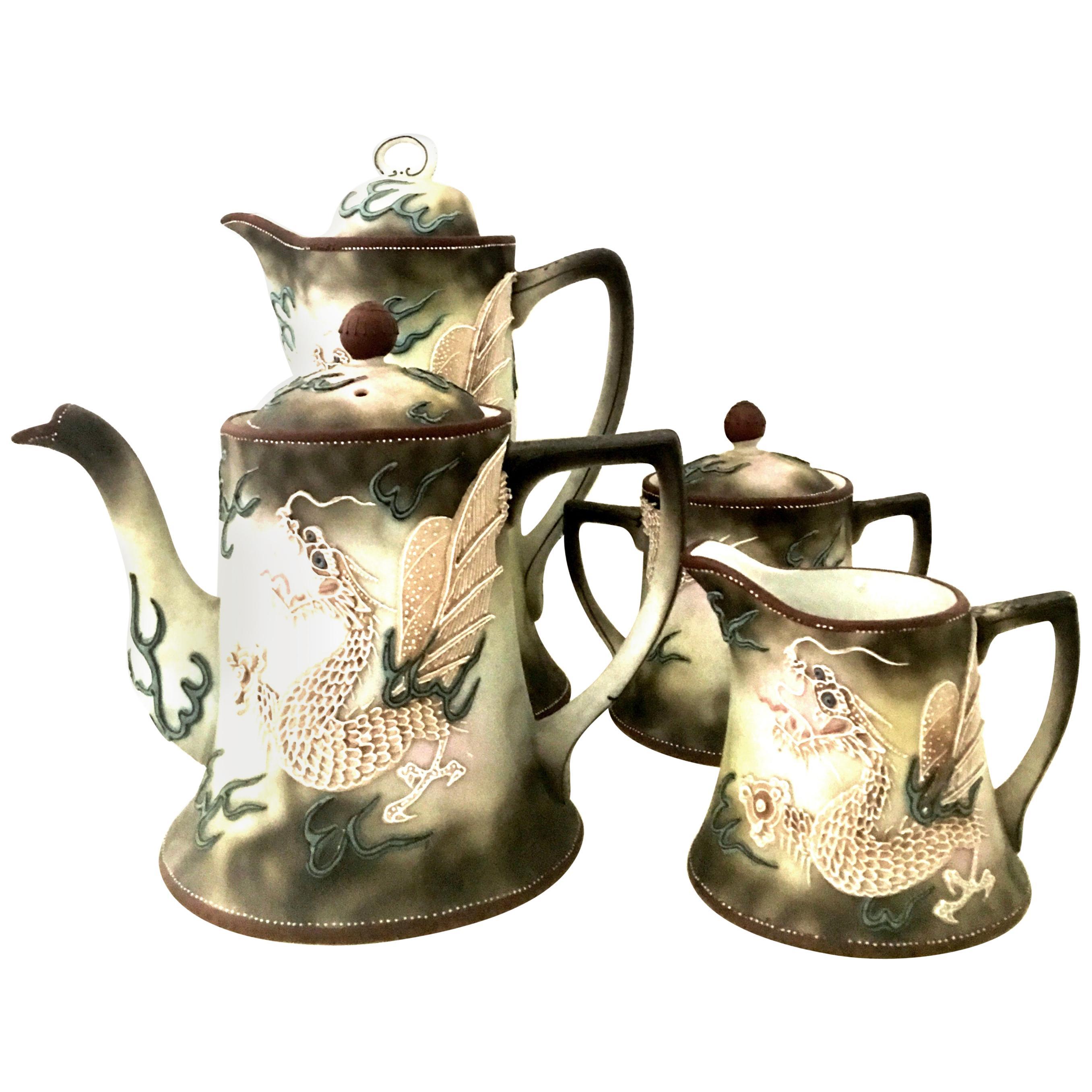 "Antique Nippon Japanese Moriage ""Dragon"" Motif Tea/Coffee Set of Four Pieces"