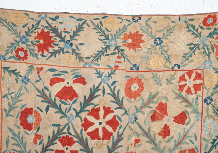 Embroidered Antique Nom Suzani from Bukhara, Uzbekistan, 19th Century For Sale