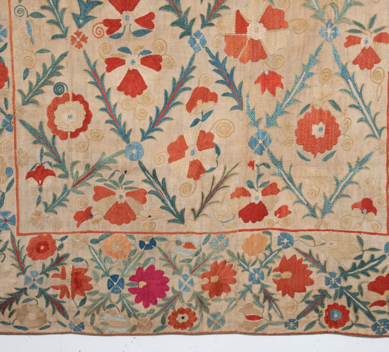 Antique Nom Suzani from Bukhara, Uzbekistan, 19th Century In Good Condition For Sale In Istanbul, TR