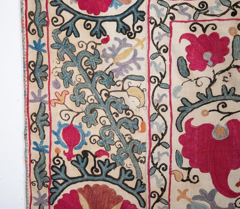 Silk Antique Nom Suzani from Bukhara Uzbekistan, 19th Century