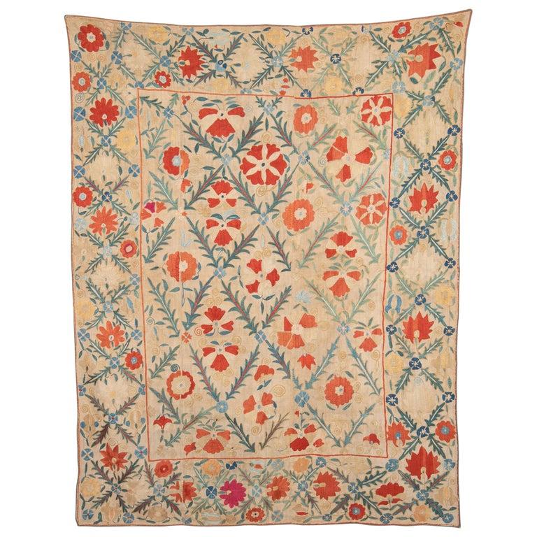 Antique Nom Suzani from Bukhara, Uzbekistan, 19th Century For Sale