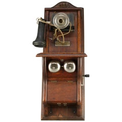 Antique North Electric Paddle Type Oak Wall Telephone, circa 1890