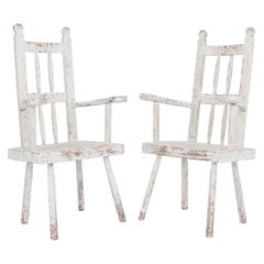 Antique Northern European Wooden Armchairs, a Pair