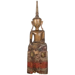 Antique Northern Thai Folk Art Wooden Buddha, circa 1900