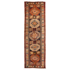Antique Northwest Beige and Blue Wool Persian Runner